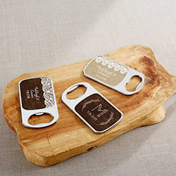 Personalized Silver Bottle Opener with Epoxy Dome - Rustic Charm Wedding