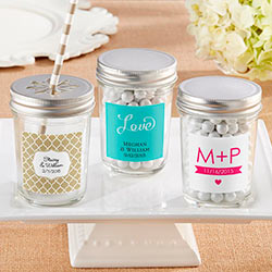 Personalized Mason Jar with Your Choice of Lid-Wedding  (Set of 12)
