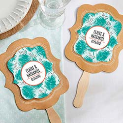 Personalized Kraft Fan - Tropical Chic (Set of 12)