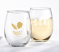 Personalized 9 oz. Stemless Wine Glass - Pineapples and Palms