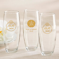 Personalized 9 Oz. Stemless Champagne Glass - Beach Tides