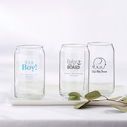 Personalized 16 oz. Can Glass - Baby Shower