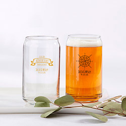 Personalized 16 oz. Can Glass - Travel and Adventure